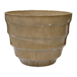 Alpine Fountains - Large 20 in. Rippled Planter in Cream - Made of Plastic. 1 Year Limited Warranty. Assembly Required. Overall Dimensions: 20 in. L x 20 in. W x 15 in. H (6.6 lbs)These rippled bowl planters are perfect for patios and decks.  Available in a variety of sizes and colors they can meet any need, or taste and are very durable.