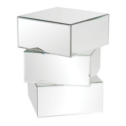Howard Elliott Stacked Contemporary Mirrored End Table - Built from wood and covered in mirrored glass, the Howard Elliott Stacked Contemporary Mirrored End Table will make a conversation-starting addition to your living room. This lovely end table has a sculptural style of stacked boxes.About the Howard Elliott Collection.The Howard Elliott Collection is one of the premiere manufacturers of decorative mirrors and accessories in the home furnishings industry. Howard Elliott offers innovative designs in a wide variety of styles, and the company prides itself on its high standards and quality. No matter your style, the Howard Elliott Collection offers pieces that are sure to add sophistication and luxury to your decor. In the company's meteoric rise, it now ships to nearly 3,500 furniture, home furnishings, and lighting retailers as well as many of the top contract companies servicing the hotel and building industries worldwide.