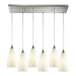 Elk Lighting - EL-2580/6rc Vesta 6-Light Pendant in White and Satin Nickel - Vesta 6 light pendant in satin nickel