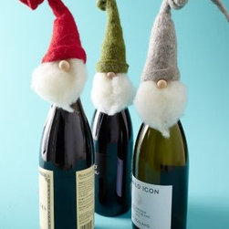 Garnet Hill - Santa Wine Toppers Set of Three - Furry beards and bendable woolly felt hats make this trio of charming Santa wine toppers essential guests for holiday parties and special dinners. These funny little fellows wrap around the tops of wine bottles for fun host and hostess gifts. Set includes Gray, Red and Green Santas. Each is 14 1/2 in. H.