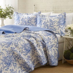 Laura Ashley - Laura Ashley 3-piece Bedford Blue Reversible Quilt Set - Prewashed for extra softness,this quilt set is adorned with a vibrant blue floral pattern. The 100-percent cotton quilt set is machine washable.