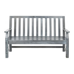 Safavieh - Indaka Bench - Though an English garden classic in every detail, the Indaka bench is designed with clean minimalist lines will complement traditional, Mission and transitional decor in outdoor spaces. Slatted back and seat are ample and comfortable in this well-proportioned piece crafted of sustainable acacia wood in ash grey finish with silver galvanized hardware.