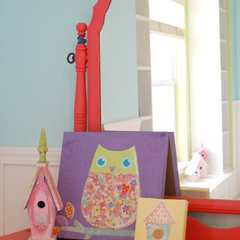 eclectic kids Vanity and view of the window seat in my daughter's room