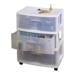 None - Homz Large Three Drawer Storage Cart - HOMZ Large Three Drawer Card is ideal for general storage throughout the home. It includes four casters for easy mobility.