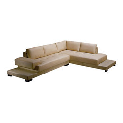 VIG Furniture - 2226 Beige Top Grain Italian Leather Sectional Sofa - The 2226 sectional sofa is a great addition for any modern themed living room decor. This sectional comes upholstered in a beautiful beige top grain Italian leather in the front where your body touches. Skillfully chosen match material is used on the back and sides where contact is minimal. High density foam is placed within the cushions for that extra added comfort. Only solid wood products were used when crafting the frame making this sofa very durable. The wide base the sofa comes on is wrapped in a match material and creates to end tables on each end.