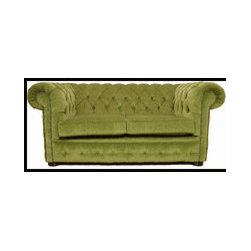 Chesterfield 2 Seater Settee - Sage Green - HANDCRAFTED IN ENGLAND   The Chesterfield Classic Sofa. The Chesterfield Leather Sofa with it's unique  Low Back Style, Deep Buttoned Arms and Back complemented with a Buttoned Front Border. The Scroll Fronted arms on the Chesterfield Leather Sofa are attractively embellished with lines of individual stud nails. An undoubted winner in any room from the cottage to the boardroom. A classic of its kind ;Traditional Vintage British Style. Handmade in Chenille Handmade in Luxury Chenille Fabric Non Tropical Screwed and glued hardwood frame made in house Upholstered and buttoned by craftsmen Real wood Bunfeet Hand studded From construction of the frame to filling in the cushions all is completed in house.