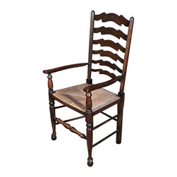 Antiques - Antique English Oak Ladder Back Arm Chair - Country of Origin: England