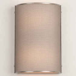 Hammerton Studio - Uptown Mesh Cover Sconce by Hammerton Studio - Screened sophistication. The Hammerton Studio Uptown Mesh Cover Sconce tucks a double-ended socket behind a contemporary half circle facade of tightly-knit steel. Not rated for outdoor use. Part of Hammerton's City Mesh collection. Fabricated in a fine (Uptown) or course (Downtown) woven steel and available in a Flat Bronze or Metallic Beige Silver finish. Hammerton Studio is a leading U.S.-based lighting designer and manufacturer, best known for its award-winning sculptural creations in all forms of artisan glass. The brand combines artisan-blown and kiln-fired fused glass, hand-hewn steel, and other authentic materials with surprising contemporary design and meticulous attention to detail.