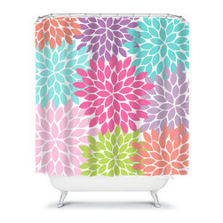 Shower Curtain Flower Bursts Dahlia 71x74 Bathroom Decor Made in the USA - DETAILS:
