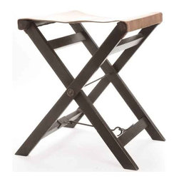 Folding Leather and Wood Camp Stool - This folding leather stool from antique European country collection is an ideal piece to be taken along to outdoor activities. It features cross legs that can easily be folded to be stored in the corner. It will provide a perfect seating space!