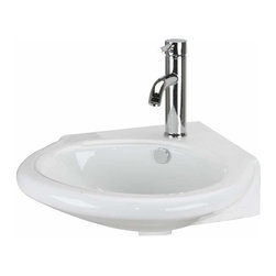 Renovators Supply - Corner Sinks White China Vincent Wall Mount Corner Sink 13 5/8 W | 15410 - Renovators Supply Corner Sinks. Vessel Sinks Corner Wall Mount: Made of Grade A vitreous China these sinks endure daily wear and tear. Our protective RENO-GLOSS finish resists common household stains and makes it an EASY CLEAN wipe-off surface. Ergonomic and elegant easy reach design reduces daily strain placed on your body. SPACE-SAVING CORNER design maximizes limited bathroom space. Easy, wall mount installation. Faucet sold separately. Measures 7 inch H x 13 5/8 inch W x 19 inch projection