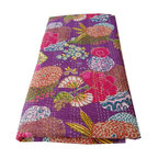 Purple Kantha Stitch Printed Throw - This colourful double stitched ethnic cotton quilt is printed in a fruit and floral design in vibrant colours and hand-stitched in the Kantha style to create a great texture.  Can be used as a throw, bedcover or thin quilt for the summer months. Matching cushion covers available.