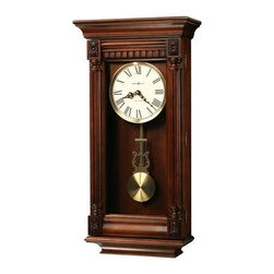 Howard Miller - Lewisburg Wall Clock with Tuscany Cherry Fini - Traditional Wood wall clock with Tuscany Cherry finish on select Hardwoods and Veneers. The aged dial features Black Roman numerals and hour markers, Black serpentine hour and minute hands, and a raised, Antique Brass-finished bezel surrounding flat Glass. Features fluted columns, dentil molding above the dial, four carved overlays that accent the pediment and base, and an Antique Brass-finished lyre pendulum with grid. Quartz, triple-chime Harmonic movement plays your choice of Westminster, Ave Maria, and Bim-Bam chimes with volume control and automatic nighttime shut-off option. Battery operated. 13 3/4 in. W x 5 1/2 in. D x 27 in. H