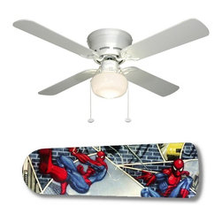 """Spiderman Superhero 42"""" Ceiling Fan and Lamp - 42-inch 4-blade ceiling fan with a dome lamp kit that comes with custom blades. It has a white flushmount fan base. It has an energy efficient 3-speed reversible airflow motor for year long comfort. It comes with complete installation/assembly instructions. The blades can be cleaned with a damp cloth. It is made with eco-friendly/non-toxic products. This is brand new and shipped in the original box. This is not a licensed product, but is made with fully licensed products. Note: Fan comes with custom blades only."""