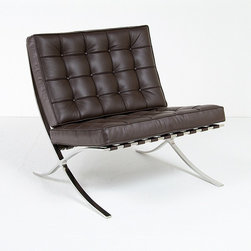 Modern Classics - Mies van der Rohe:Barcelona Chair Reproduction - This is a high quality replica of the Barcelona chair originally created for the Pavilion of German Representation at the 1929 Universal Exhibition in Barcelona, Spain. Our chairs are close reproductions of the signature Knoll design and are manufactured with full-grain, 100% aniline-dyed leather and the high quality hand polished stainless steel frames.