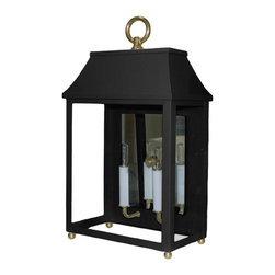 Palo Alto Decorative Sconce - Tricorn Black - A beautiful sconce with clean lines, the Palo Alto is a classic. A true statement piece inside or out - flanking the doors to your terrace or illuminating your mantel. Hand made by old world craftsmen in New England using the best quality copper and brass. Available in 16 colors.  For indoor/outdoor use. Bulbs - 40 watts or less. UL approved for damp locations. Custom color available. Part of the Designer Collection. Made in the U.S.A.