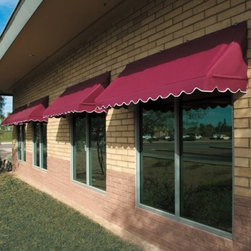 Awnings In a Box Traditional Awning - 6 ft. - When the summer sun shines bright, offer your house or office a spot of shade, with the Awnings In a Box Traditional Awning - 6 ft. The shade it provides in the summertime helps you keep your home cool, cutting down on energy costs, and prevents both glare on your window as well as fading in your draperies, carpets, and furniture. And its steeper pitch doesn't allow rain pockets or mounded snow that could dump on you unexpectedly. But this scalloped awning is attractive as well as functional. At six feet wide, this awning covers most windows and doors for decorative appeal, creating a charismatically textured facade to your home or workspace.Awnings in a Box are built with the utmost care and consideration for keeping the face of your home or office looking nice. The 100-percent aluminum frame and commercial-grade hardware are guaranteed not to rust. And being mildew resistant as well as poly-urethane coated with Teflon, the Sunsational Select fabric is one of the most durable solution-dyed fabrics on the market today for outdoor use and comes in a wide variety of colors that are sure to complement your exterior. These awnings can be installed easily into stucco, wood, or brick. And because they are light, retractable, and removable, these awnings can be easily cleaned and kept looking new in the event of adverse weather such as high-wind storms.About Sunsational ProductsAs the home products division of IDM Worldwide, Sunsational Products are pioneers in the first easy-to-install, Do-It-Yourself, Awnings in a Box. This product has proven to be one of the most highly demanded products in IDM's home product line and is offered only to leading vendors. Awnings in a Box represents a solution to one of the most under developed areas of DIY home improvement. The concept was such a success, IDM Worldwide moved forward in offering a Do-It-Yourself Door Canopy in a Box product for residential and commercial use.