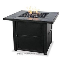 "Blue Rhino - Uniflame Ceramic Tile LP Gas Firepit - Uniflame Dark Slate Outdoor LP Gas Fireplace with Slate Tile Mantle; Hidden Control Panel with Electronic Ignition; Includes Black Glass; Simple Assembly - No Tools Needed; LP Gas Tank Not Included; Multi-Spark Electronic Ignition; 30 000 BTU's; 32.1"" x 32.1"" x 24.2""."
