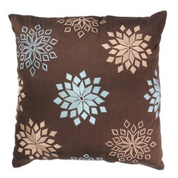 Rizzy Home - Brown and Aqua Decorative Accent Pillows (Set of 2) - T02829 - Set of 2 Pillows. Pillow Cover with Hidden Zipper. Maretial: Poly Dupioni Fabric. Embroidered Details. Dry Clean Only. Color: Brown - Aqua.