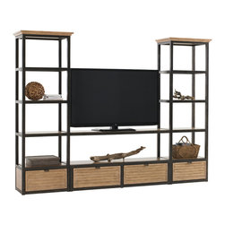 Lexington - Lexington Monterey Sands Camino Real Shelves 830-990S - The two metal framed wood shelves hook between two media towers at the second, third, or fourth shelf to raise the site line of a television or create a great library/display wall.