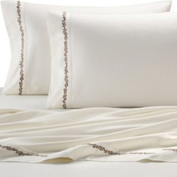 Harbor House - Harbor House Arabella Sheet Set in Ivory - Dress your bed in silky soft luxury with the Arabella sheet set. These sheets are in a neutral ivory color that perfectly complements the comforter set's beachside theme. Embroidery on the hems and cuffs adds a special, stylish embellishment.