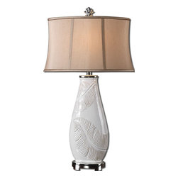 Embossed White Leaf Table Lamp - *Lightly distressed white glaze with raw ceramic undertones and polished nickel plated details.
