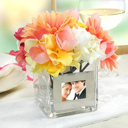 Home Decorators Collection - Personalized Square Glass Vase with Photo Frame - Our Personalized Square Glass Vase with Photo Frame is an exquisite decorative element that holds beautiful blooms and memories. Constructed of hand-blown glass, the vase can be personalized at no additional cost. Personalize with up to two custom lines (24 characters maximum per line) with one line above photograph and one below. Glass construction with a metal frame.