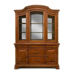 Legacy Classic - Evolution 5 Drawer Buffet & China Hutch w in Rich Auburn Finish - Set includes buffet & China hutch. 3 Glass doors. 3 Hinge switch. Glass shelves with display plate groove. Curio glass sides. Mirrored back. 5 Drawers with silver tray. 2 Doors with adjustable shelves & levelers. Louis Philippe style. Stained drawer interiors. English dovetail backs, French dovetail fronts & dust proof drawers. Full extension, ball bearing, side mounted & metal drawer guides. Made of American hardwood frame & quartered Okoume Mahogany veneers. Assembly required. Buffet: 62 in. W x 20 in. D x 34 in. H (211.2 lbs.). Hutch: 62 in. W x 20 in. D x 51 in. H (264 lbs.)
