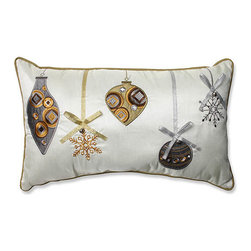 Pillow Perfect - White and Gold Holiday Ornaments Rectangular Throw Pillow - - Ornaments aren?t just delightful on the tree - this plush holiday throw pillow features five intricate Christmas tree ornaments with bow and beading applique detail. This sweet pillow is further complimented with golden beige piping and solid backing. We know the holiday cheer will envelope your home every year with this pillow as part of your decor  - Fill material: Plush fill, 100% Polyester Fiber  - Spot clean only  - Coordinating trim and Sewn seam closure Pillow Perfect - 552910