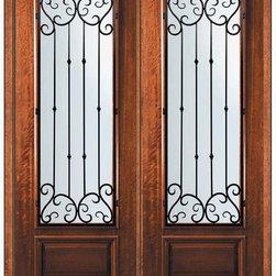 """Pre-hung Double Door 96 Wood Mahogany Valencia 3/4 Lite Wrought Iron - SKU#P18662WV-G-WP834V2VBrandGlassCraftDoor TypeExteriorManufacturer Collection3/4 Lite Entry DoorsDoor ModelValenciaDoor MaterialWoodWoodgrainMahoganyVeneerPrice4945Door Size Options  +$percent  +$percent  +$percentCore TypeDoor StyleDoor Lite Style3/4 LiteDoor Panel Style1 PanelHome Style MatchingDoor ConstructionPortobelloPrehanging OptionsPrehungPrehung ConfigurationDouble DoorDoor Thickness (Inches)1.75Glass Thickness (Inches)Glass TypeDouble GlazedGlass CamingGlass FeaturesLow-E , TemperedGlass StyleGlass TextureWater , Flemish , Baroque , Fluted , Rain , Glue Chip , ClearGlass ObscurityLight Obscurity , Moderate Obscurity , Highest Obscurity , No ObscurityDoor FeaturesDoor ApprovalsWind-load Rated , FSC , TCEQ , AMD , NFRC-IG , IRC , NFRC-Safety GlassDoor FinishesDoor AccessoriesWeight (lbs)719Crating Size25"""" (w)x 108"""" (l)x 52"""" (h)Lead TimeSlab Doors: 7 Business DaysPrehung:14 Business DaysPrefinished, PreHung:21 Business DaysWarrantyOne (1) year limited warranty for all unfinished wood doorsOne (1) year limited warranty for all factory?finished wood doors"""