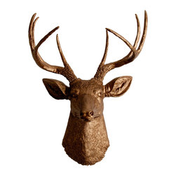 White Faux Taxidermy - The Bennett - Bronze Faux Resin Deer Head - Measurements: