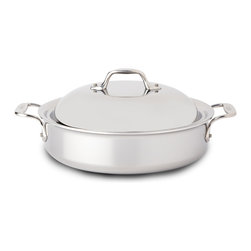 All-Clad - All-Clad Tri-Ply Stainless Steel 4 qt. Sauteuse Pan w/Lid (440418) - The sauteuse features a large surface area and tall, straight sides, the ideal design for searing foods then adding liquid to braise or deglaze. The pan's distinctive domed lid holds in heat and circulates moisture, delivering tender, flavorful results. Offering the convenience of creating all-in-one-pan meals, the versatile sauteuse effortlessly transfers from stovetop to oven to table, all with the ease and comfort of its large loop handles. Lifetime warranty from All-Clad with normal use and proper care. Made in the USA!