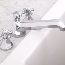 Cole Roman Tub Faucet, Chrome finish - Our Cole Sink Faucet is known for its solid construction and clean profile. We've now added coordinating roman faucets to complete the collection. Crafted of brass, with a smooth rust-resistant finish. Rounded cross-hatch handles with vintage-style Hot and Cold lettering. Set includes tub faucet and handles. See available finishes below. Professional installation required. {{link path='pages/popups/sink_cole_roman_popup.html' class='popup' width='720' height='800'}}Learn more{{/link}} about how to install this tub set. View our {{link path='pages/popups/fb-bath.html' class='popup' width='480' height='300'}}Furniture Brochure{{/link}}.