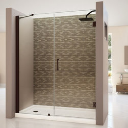 "DreamLine - DreamLine SHDR-20587210-06 Unidoor Shower Door - DreamLine Unidoor 58 to 59"" Frameless Hinged Shower Door, Clear 3/8"" Glass Door, Oil Rubbed Bronze Finish"