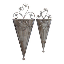 """Benzara - Old Style Cone Shaped Wall Planter For Your Potted Plants - This wall planter is designed in an enchanting upside down cone shape with Victorian era style in mind. Plants are a wonderful thing to liven up any space, and fits in with virtually any style of decor. Built with climbing Fleur-de-Lis vines, your favorite potted plants now have lots of room to arrange however you like.; Made of metal; Sizes: 10""""x5""""x25"""", 7""""x3""""x19"""""""