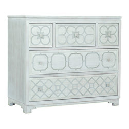 Gabby - Pandora Chest - A classic chest of wooden drawers gets a makeover. The clean, white finish and metal geometric pattern across the drawer fronts add a modern twist to this vintage style piece.