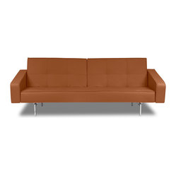 Agoston Light Brown Faux Leather Sofa Bed