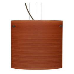 Besa Lighting - Besa Lighting 1KG-4184CH-LED Tamburo 1 Light LED Cable-Hung Pendant - Tamburo is a classic open-ended cylinder of handcrafted glass, a shape that will stand the test of time. Our Cherry glass is a soft off-white cased glass that is handcrafted with spiraling strokes of dark red, emphasizing the subtle brush pattern. The reddish rippled design is subdued and harmonious. Unlit, it appears as simply a textured surface like wood grain, but when lit the texture comes alive. The smooth satin finish on the clear outer layer is a result of an extensive etching process, with the texture of the subtle brushing. This blown glass is handcrafted by a skilled artisan, utilizing century-old techniques passed down from generation to generation. The cable pendant fixture is equipped with three (3) 10' silver aircraft cables and 10' AWM cordset, and a low profile flat monopoint canopy.Features: