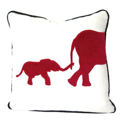 Therese Marie Designs - Elephant Pillow - Red Elephant Applique Pillow - Elephant pillow. White linen serves as the backdrop to this mama and baby elephant appliqué cut from tomato-red cotton velvet. The elephant shape is hand-cut and satin stitched (appliquéd) in place. A black linen contrast cord ties the look together.  *For 20-inch square insert.