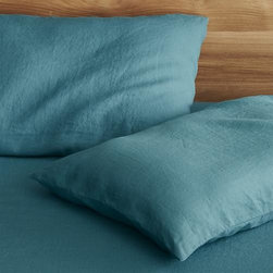 Set of 2 Lino Teal Linen Standard Pillowcases - Super soft, washed bedding in solid, gorgeous hues spreads the bed in the comforting touch and relaxed, worn-in style of pure linen.