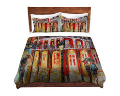 DiaNoche Designs - Duvet Cover Microfiber - New Orleans French Quarter - Super lightweight and extremely soft Premium Microfiber Duvet Cover in sizes Twin, Queen, King.  This duvet is designed to wash upon arrival for maximum softness.   Each duvet starts by looming the fabric and cutting to the size ordered.  The Image is printed and your Duvet Cover is meticulously sewn together with ties in each corner and a hidden zip closure.  All in the USA!!  Poly top with a Cotton Poly underside.  Dye Sublimation printing permanently adheres the ink to the material for long life and durability. Printed top, cream colored bottom, Machine Washable, Product may vary slightly from image.