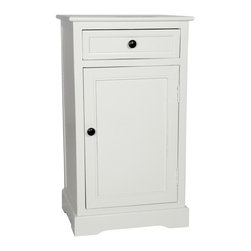 Oriental Furniture - Classic Design Nightstand - White - Classic nightstand with convenient top drawer and practical lower cabinet. Perfect for a lamp table next to a sofa, reading chair, or bedside, the simple lines accommodate both modern and traditional decor. Offered here at an unbeatable price.