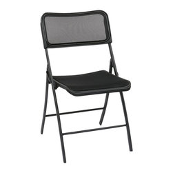 Office Star - Office Star FF Series Folding Chair with Screen Seat and Back in Black - Office Star - Folding Chairs - FF223012 - Convenient for outdoors or an extra seat for a guest this folding chair comes in a multiple color selection of your choice. Also the office star is easy to store away until the next time you need it.