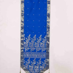 Indian Selections - Handmade Blue Wall Decor Tapestry with Tassels, 18 X 60  In. - Size: 18 X 60 Inches with 4 Inches Loops