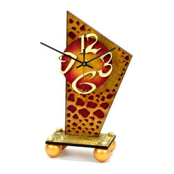 """David Scherer - """"Desk A"""" Table Clock - Batteries not included. Requires 1 AA battery. Hand crafted and painted. Clock mechanism: Ten years warranty. Made from mixed media, acrylic, medium density fiberboard and metal. Made in USA. 5 in. L x 4 in. W x 11 in. HEach piece is signed by the artist."""