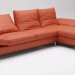 Orange Leather Sectional Sofa with chaise - Features: