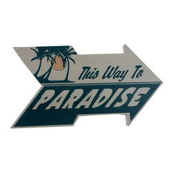 Handcrafted Nautical Decor - Wooden Arrow This Way to Paradise Beach Sign 10'' - Feel the cool, crisp ocean breeze blow in off the Atlantic, the tolls of harbor and ship bells ringing out through the misty morning, and enjoy this enchanting nautical themed sign. Short and sweet, the Wooden Arrow 'This Way To Paradise' Beach Sign 10'' perfectly accessorizes your home, office, or even your very own vessel. With its beautiful hand painted appearance, express your love for the sea, the freedom of the open ocean, and the timelessly serene ambiance of nautical life. -- ----    Solid wooden  plank--    Handcrafted and highly detailed--    Meticulously painted nautical theme--