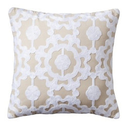 Threshold Medallion Lattice Decorative Pillow, Neutral and White - A lattice pillow will add a sweet touch to your space, and the neutral tones in this one will last you through the whole season.