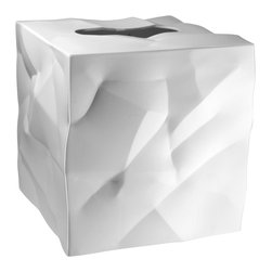 Essey of Denmark - Essey Wipy Cube Tissue Box Holder - White - The Wipy tissue box holder measures 5x5x5 and fits all major tissue brands such as Kleenex and Puffs. Wipy comes in white, black, and red. Wipy is a perfect companion for the Essey Bin bin Waste Basket for your bathroom or other room in your home. The crumpled paper look of Bin Bin is incorporated into the styling of Wipy. Wipy was designed by John Brauer and is produced in Finland by Essey of Denmark. Wipy is made of thermoplastic elastomer.