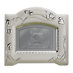 Lawrence Frames - 4x6 Satin Silver Plated Picture Frames with Vine Design - Spectacular satin silver plated and lacquer coated picture frame with vine design.  Frame comes individually boxed. Includes high quality navy blue velvet easel backing for tabletop display.